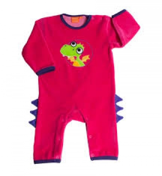 Lipfish Jumpsuit langarm fuchsia velour dragon